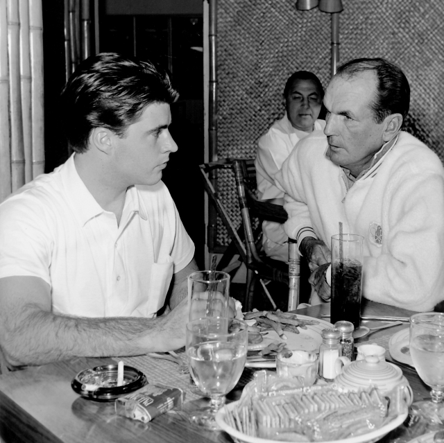 Rick Nelson and tennis instructor Dave Gillum 1957